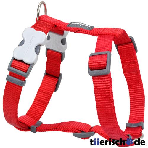 Red Dingo Hundegeschirr Nylon einfarbig, Rot, min. 30cm - max. 44cm, 12 mm