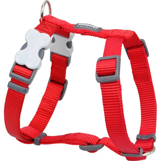 Red Dingo Hundegeschirr Nylon einfarbig Uni, L: Brust 56 - 80cm, Hals 46 - 76cm, Breite 25mm, Rot