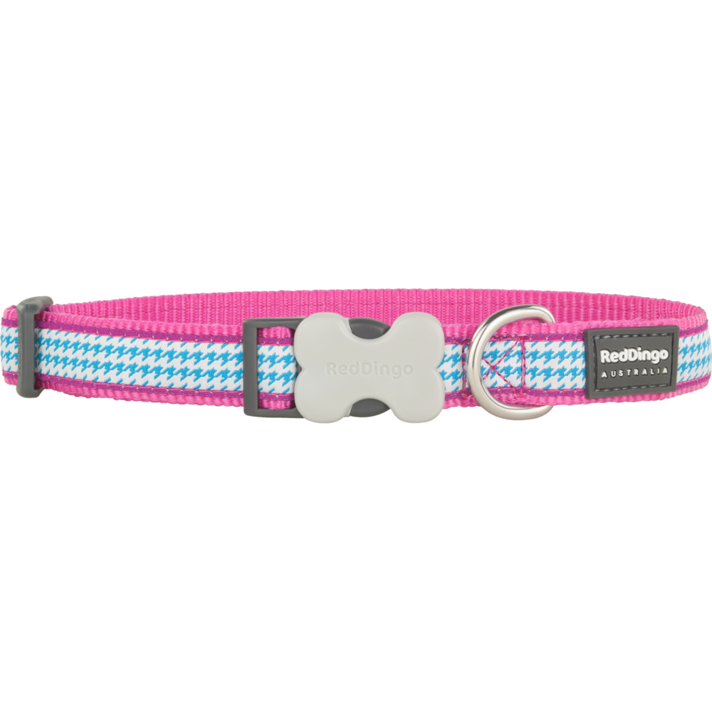 Red Dingo Hundehalsband Design Fang It Hot Pink, M: 31 - 47 cm, Breite 20 mm