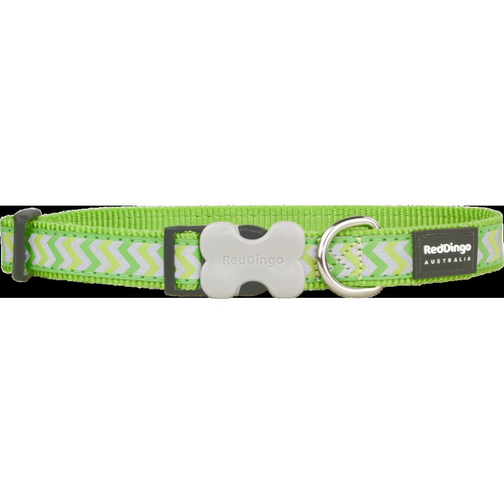 Red Dingo Hundehalsband Reflective Ziggy Lime Green