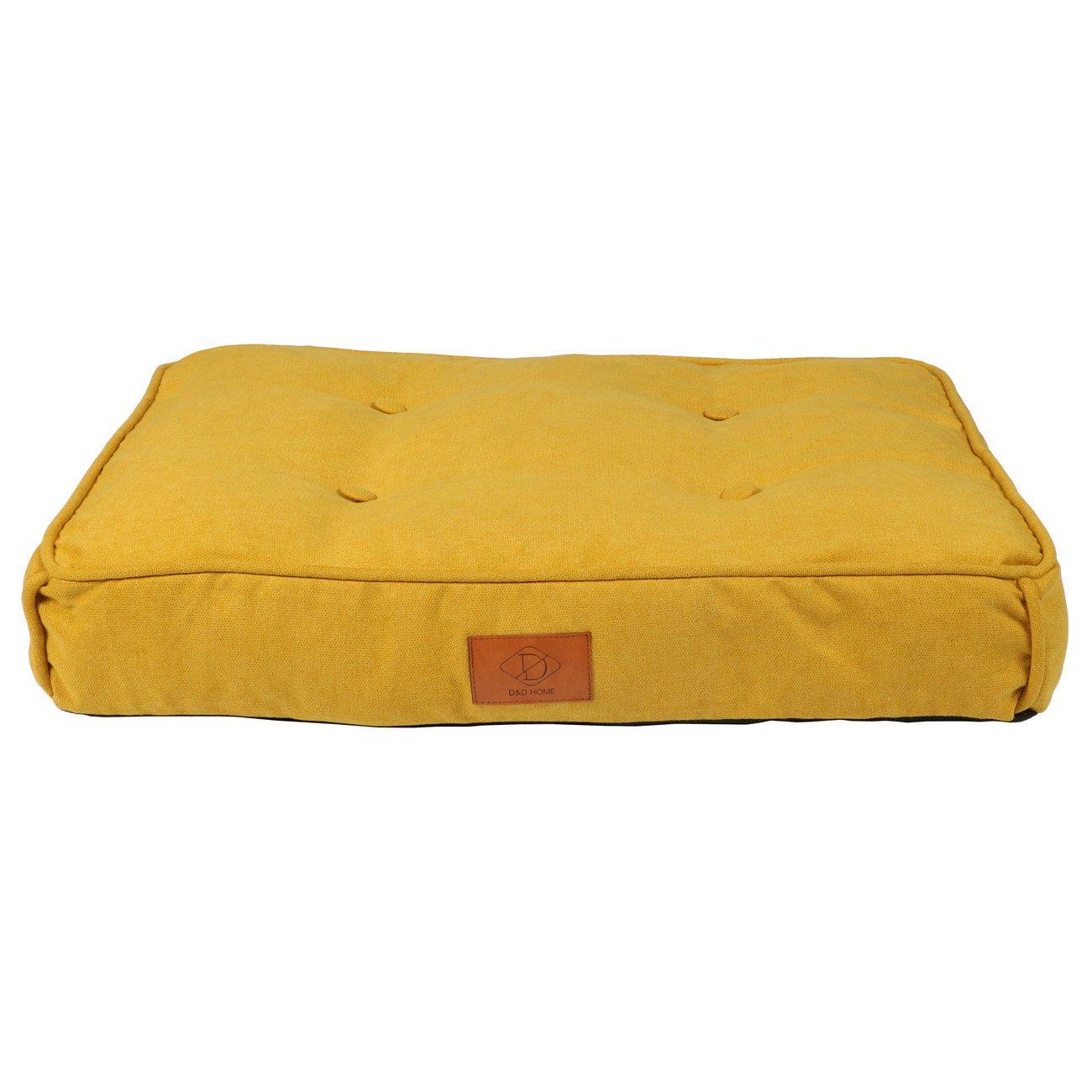 EBI Retro Hundekissen Eve im Chesterfield-Look, M, 70 x 50 x 12 cm, gelb
