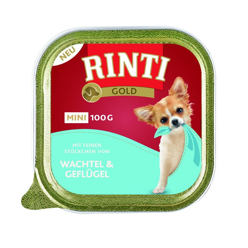 Rinti Gold Mini Nassfutter für kleine Hunde, Wachtel & Geflügel 16x100g