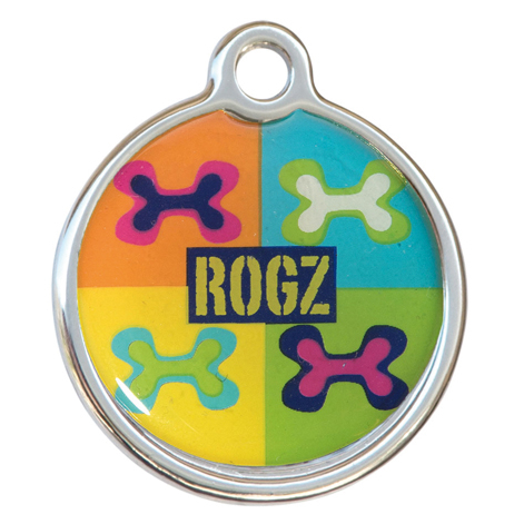 RogZ ID Tag - Metall Adressanhänger, S - Pop Art Navy