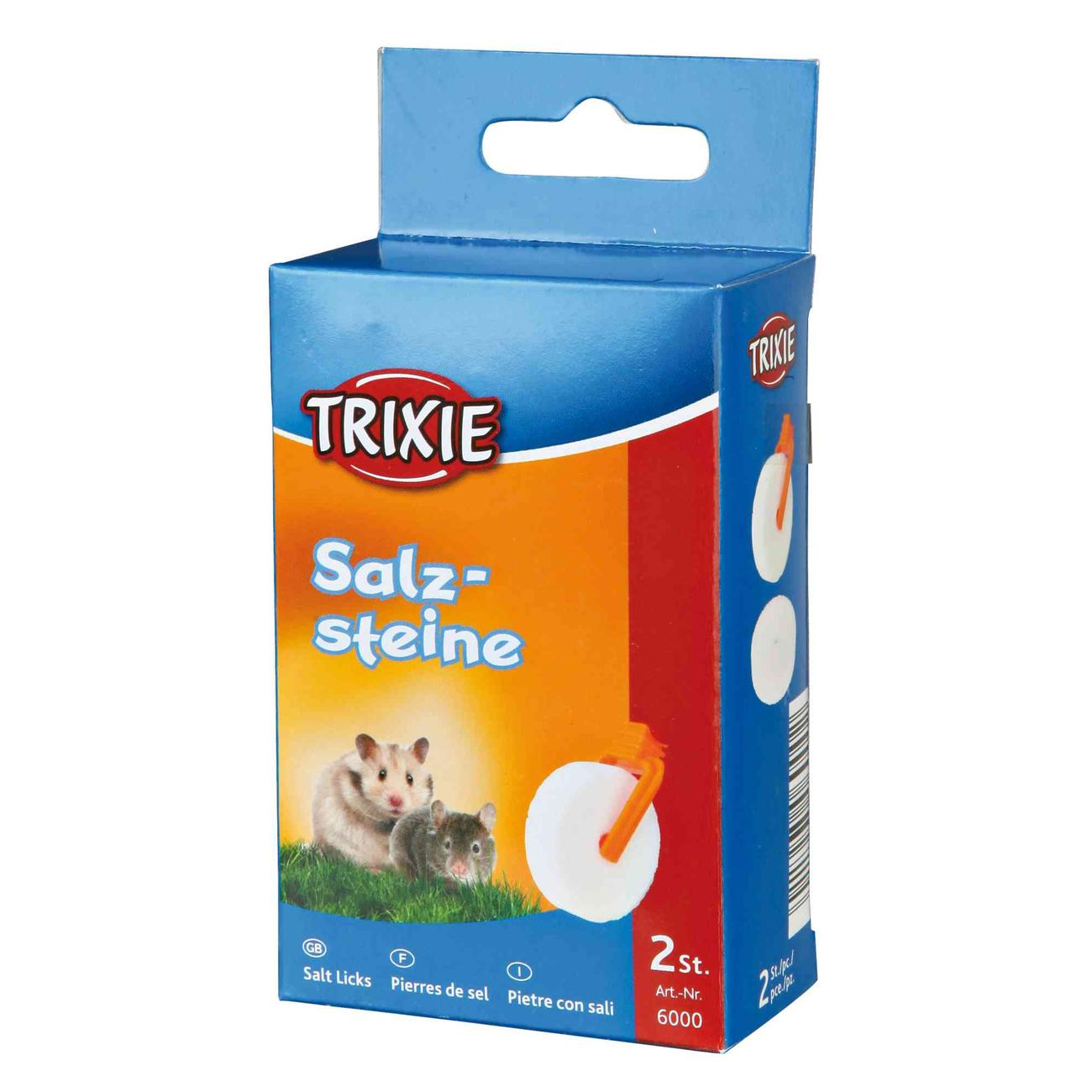 Trixie Salzstein Mineralstein mit Halter für Hamster und Mäuse, 2x54g für z. B. Hamster, Mäuse