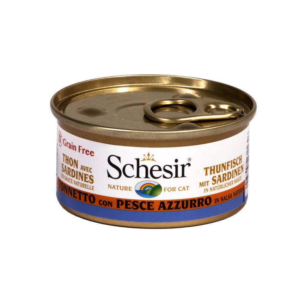 Schesir Cat Katzenfutter in Dosen und Sauce, Thunfisch & Sardinen in Sauce (24x75g)