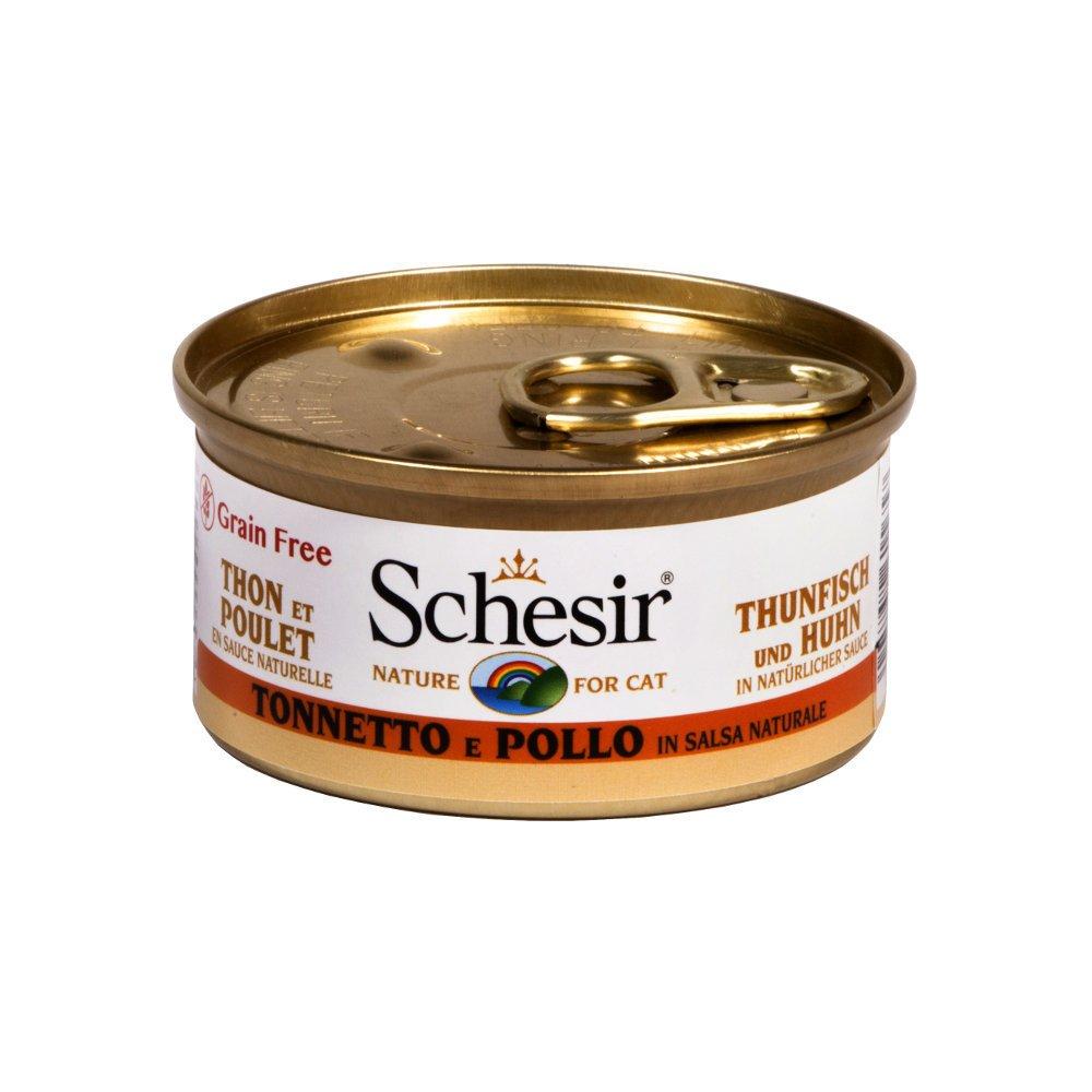 Schesir Cat Katzenfutter in Dosen und Sauce, Thunfisch & Huhn in Sauce (24x75g)