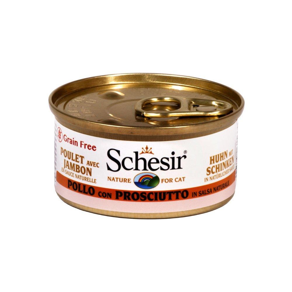 Schesir Cat Katzenfutter in Dosen und Sauce, Huhn&Schinken in Sauce (24x75g)