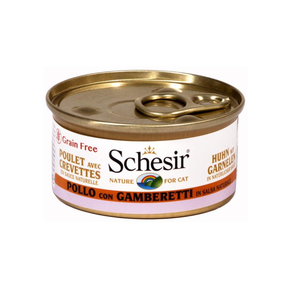 Schesir Cat Katzenfutter in Dosen und Sauce, Huhn&Garnelen in Sauce (24x75g)