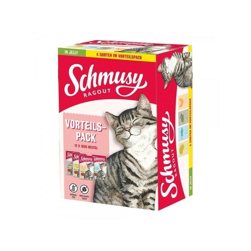Schmusy Katzen Futter Ragout in Jelly Vorteilspack, Vorteilspack 12x100g
