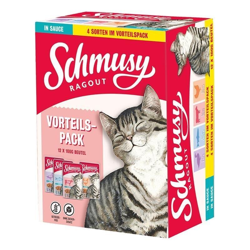 Schmusy Katzenfutter Ragout in Sauce Vorteilspack, Vorteilspack 12x100g