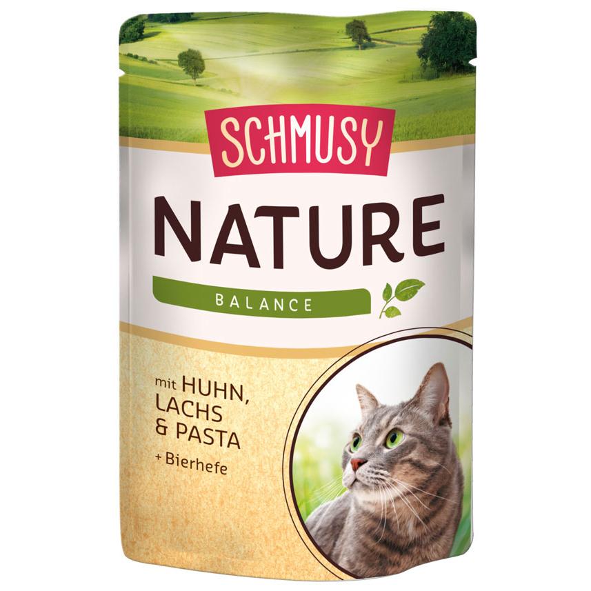 Schmusy Nature Katzenfutter im Frischebeutel, Huhn und Lachs 24x100g