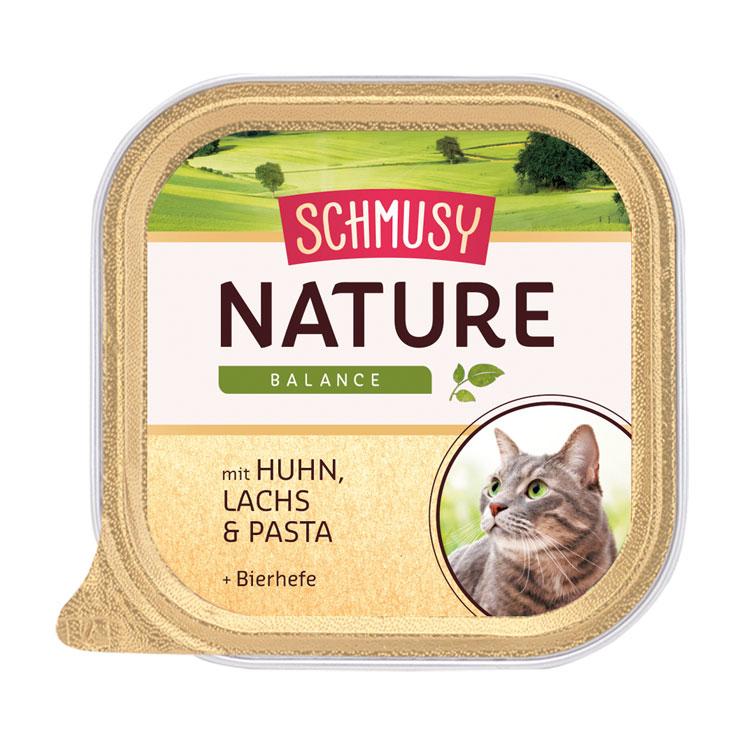Schmusy Nature Katzenfutter Schälchen, Huhn & Lachs 16x100g