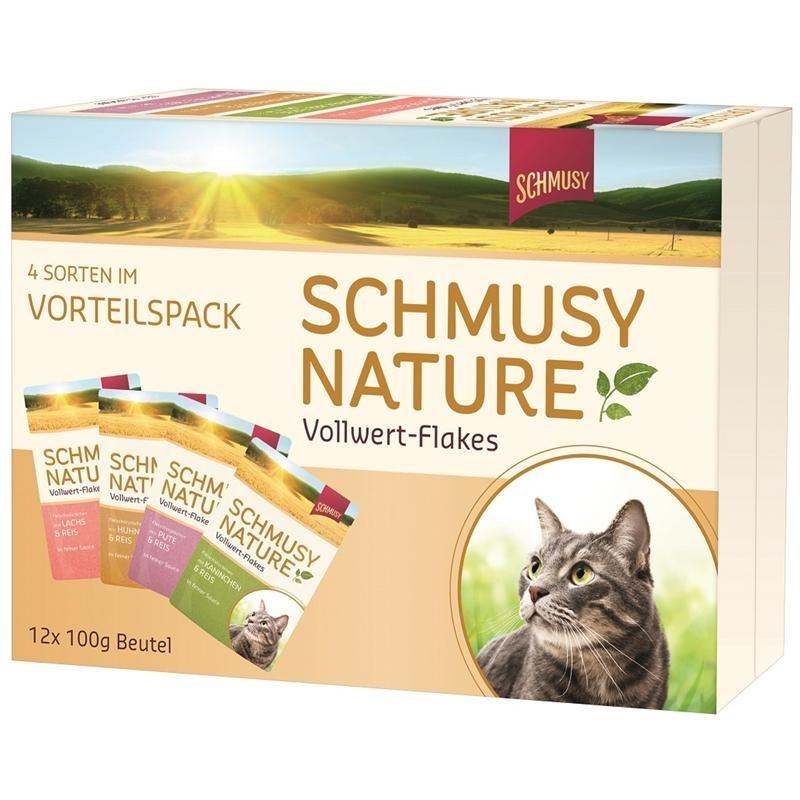 Schmusy Nature Vollwert-Flakes Katzenfutter im Multipack