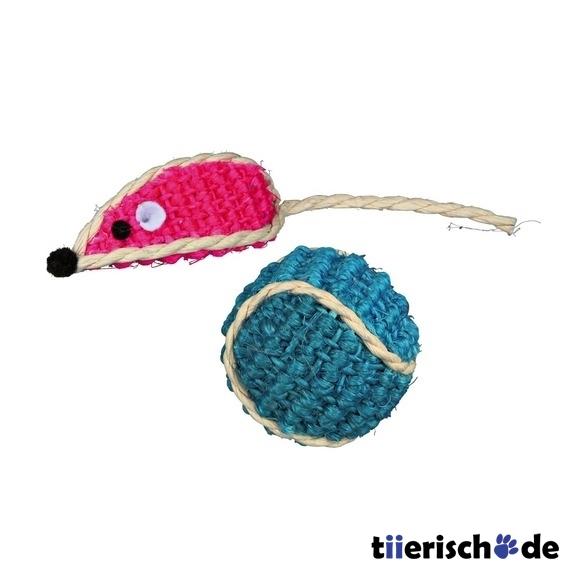 Trixie Sisal-Spielzeug-Set für Katzen, Sisalmaus und Sisalball, 5 cm/ø 4 cm