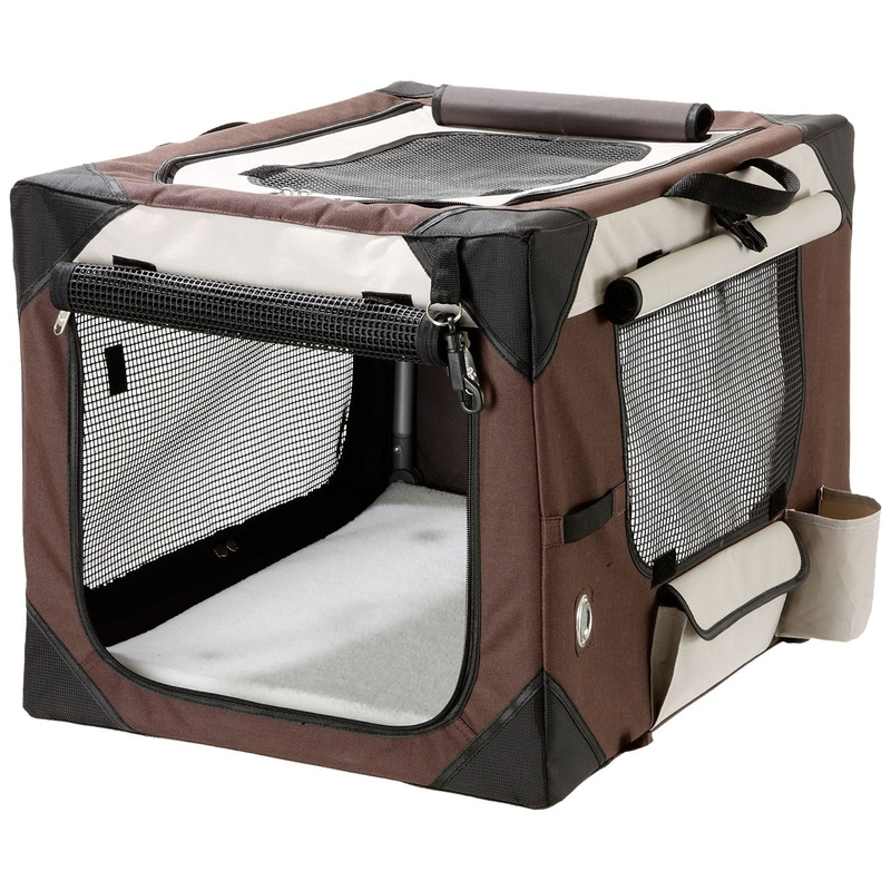 Karlie Smart Top Deluxe Hundebox Transportbox, L: 91 cm B: 61 cm H: 58 cm beige-braun