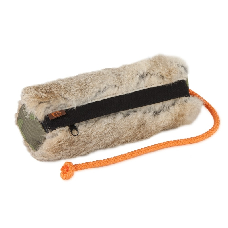 Firedog Snack Dummy mit Fell, groß: ca. 22 cm lang, Durchmesser ca. 7 cm