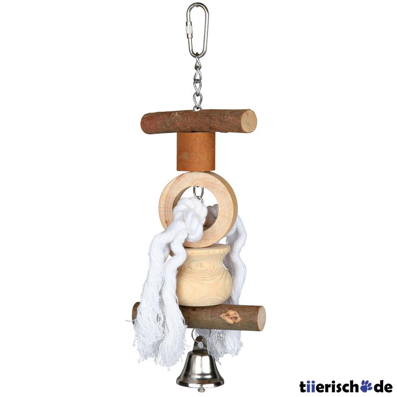 Trixie Spielzeug für Vögel aus Holz, mit Tau/Glocke, 20 cm, Wellen- und Nymphensittiche