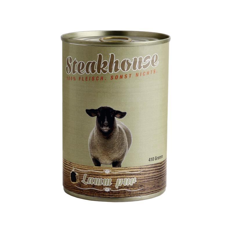 Fleischeslust Steakhouse Reinfleisch Hundefutter Dose, Einzeldose 100% Lammfleisch 400g