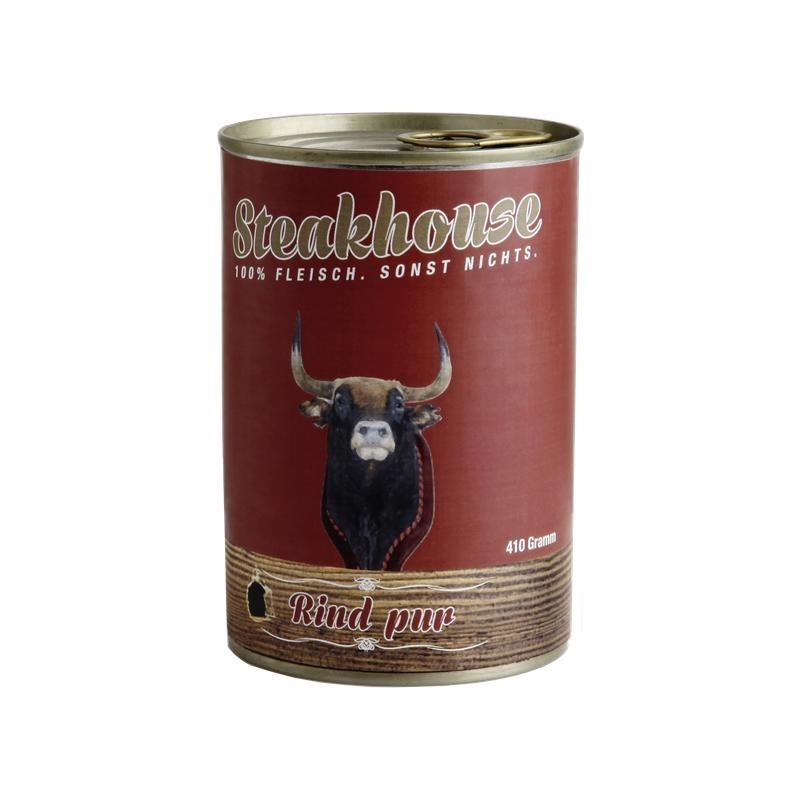 Fleischeslust Steakhouse Reinfleisch Hundefutter Dose, Einzeldose 100% Rindfleisch 400g