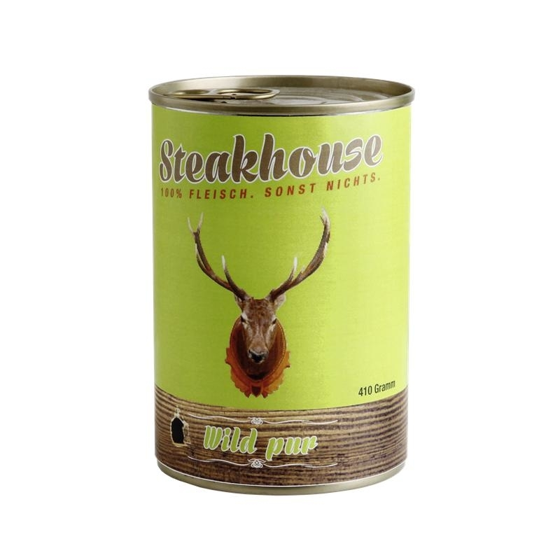 Fleischeslust Steakhouse Reinfleisch Hundefutter Dose, Einzeldose 100% Wildfleisch 400g