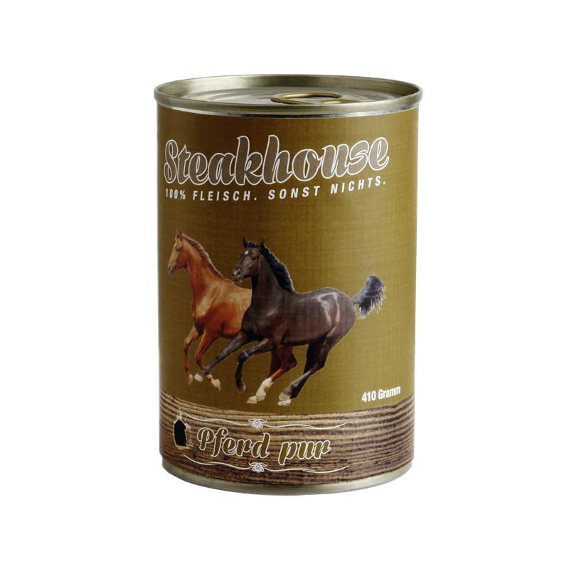 Fleischeslust Steakhouse Reinfleisch Hundefutter Dose, Einzeldose 100% Pferdefleisch 800g