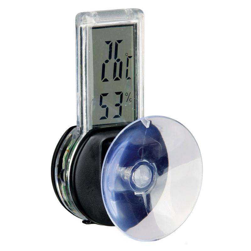 Trixie Terrarium Thermometer und Hygrometer digital, Kombigerät mit Saugnapf, 3 × 6 cm