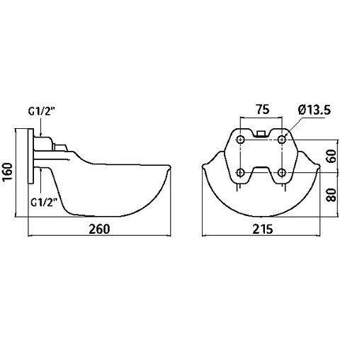 Kerbl Tränkebecken mit Rohrventil G51, emailliert, Bild 3