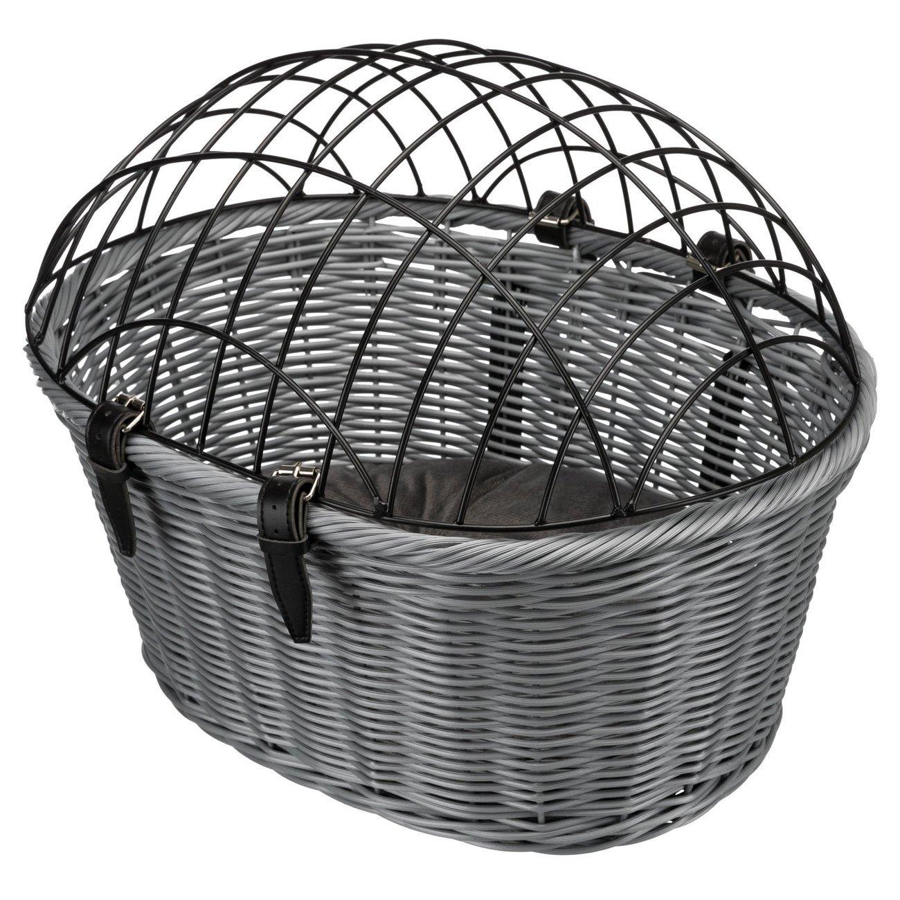 Trixie Fahrradkorb aus Polyrattan mit Gitter, 44 × 34 × 35 cm, grau