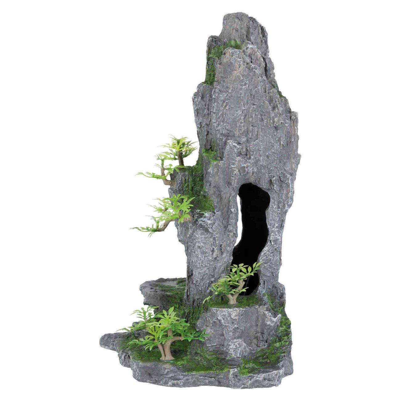 Trixie Fels mit Höhle und Pflanze für Aquarium, 37 cm