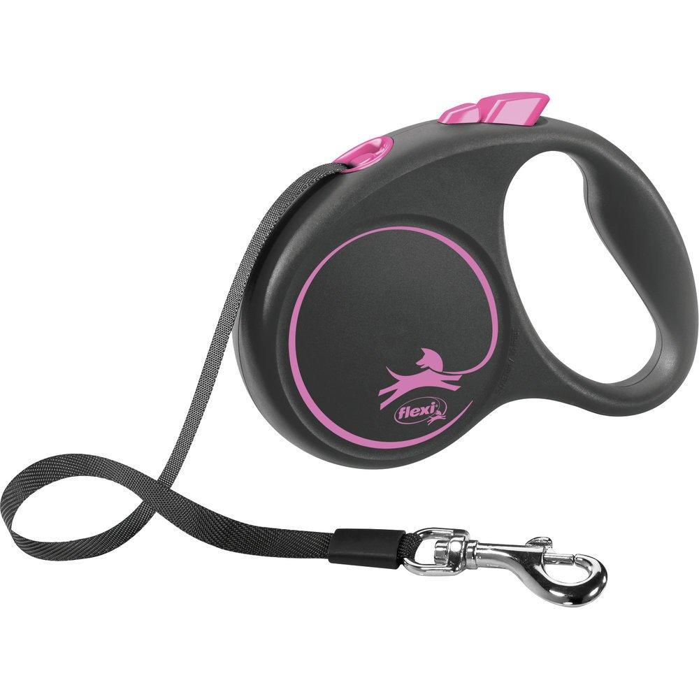 flexi BLACK DESIGN Gurtleine, S: 5 m, pink, bis zu 15kg