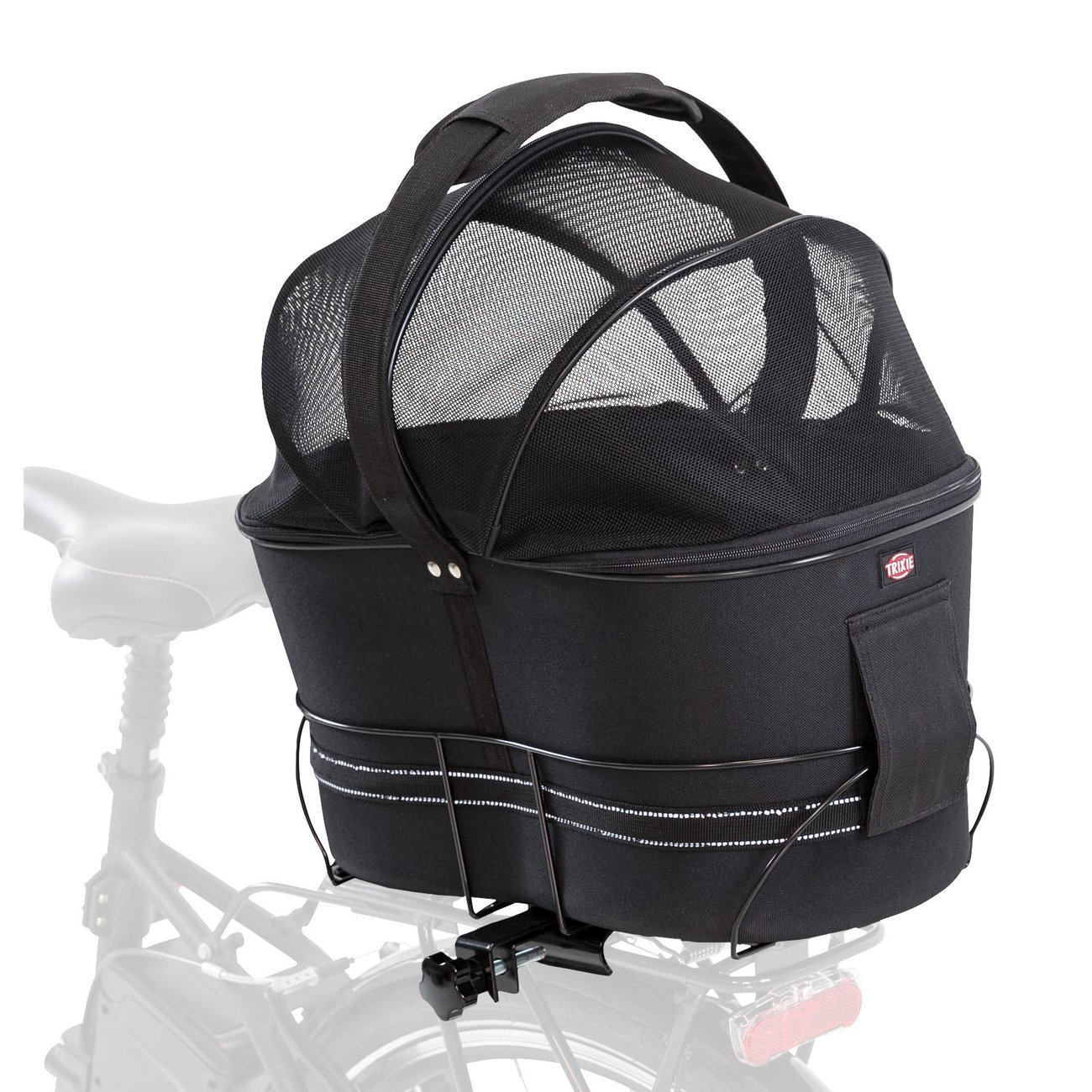 TRIXIE Hunde-Fahrradkorb für schmale Gepäckträger, 29 × 42 × 48 cm, schwarz