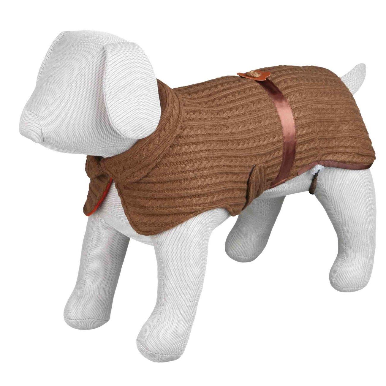 Trixie Hundemantel Tropea mit Fleecefutter, XS: Rücken 25 cm, Bauch 28–34 cm, braun