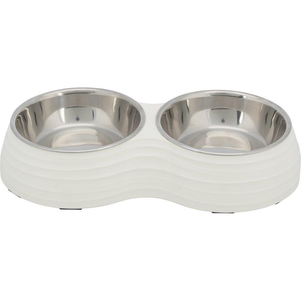 Trixie Hundenapf Set aus Melamin, Napf: 2 × 0,4 l/ø 14 cm, Gesamtmaße: 32 × 6 × 17 cm, weiß