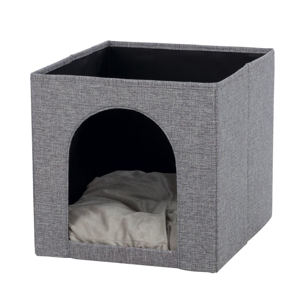 Trixie Katzen Kuschelhöhle Ella für Regal, 33 × 33 × 37 cm, grau