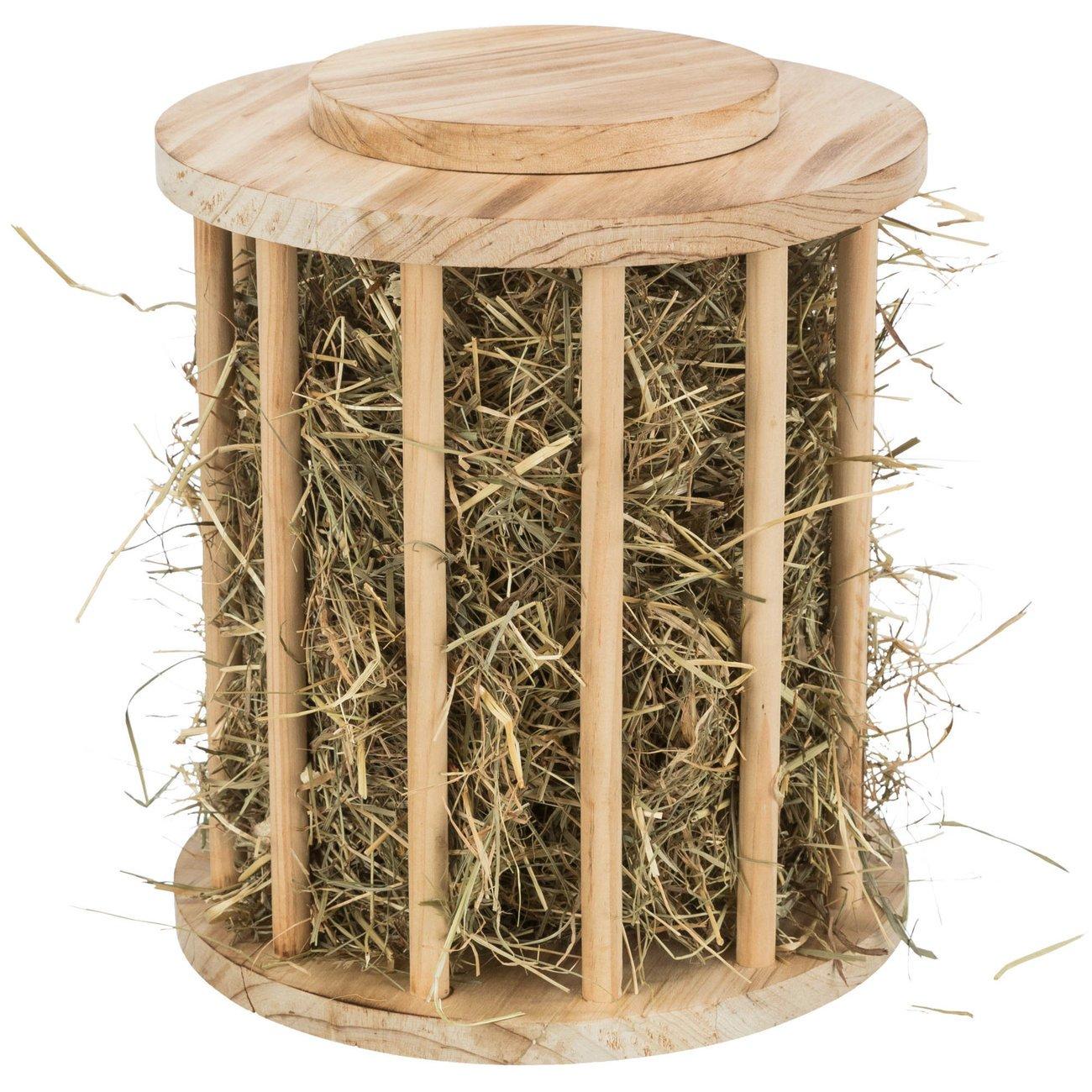 Kleintier Heuraufe rund mit Deckel Holz, geflammt Bild 3