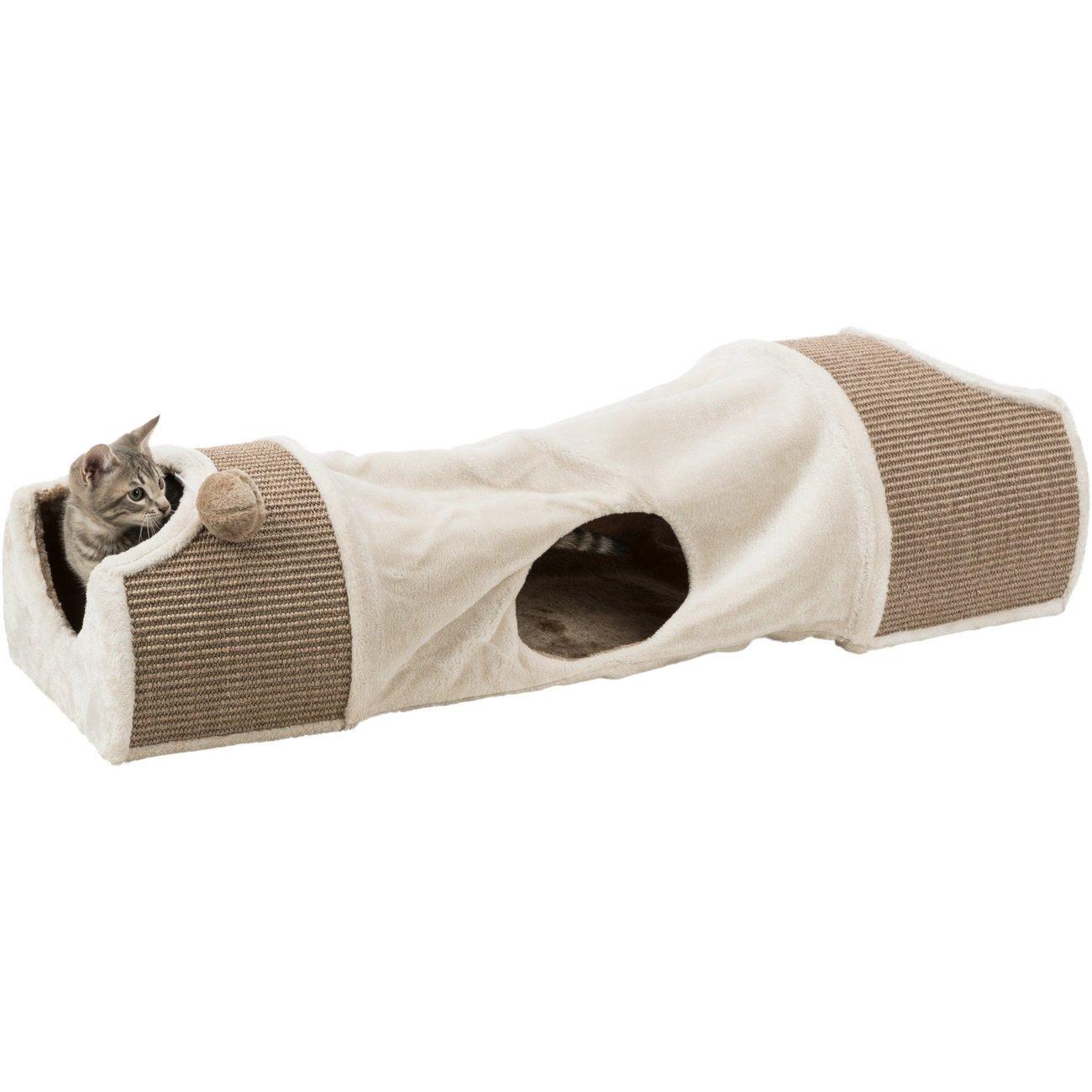 TRIXIE Kratztunnel für Katzen mit Plüsch Bezug 43004
