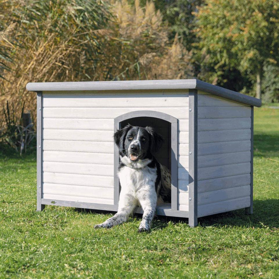 TRIXIE natura Hundehütte Classic mit Flachdach grau 39561