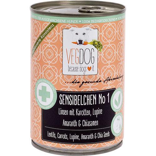 VEGDOG Sensibelchen No.1 veganes Hundefutter, 6 x 400g