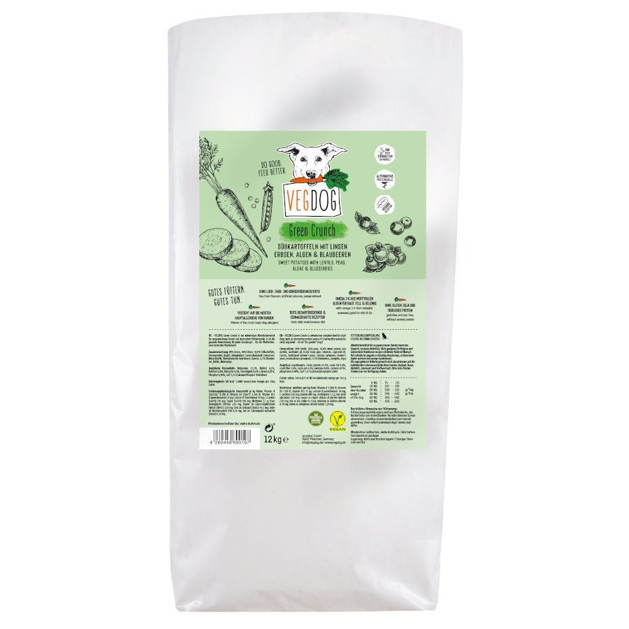 VEGDOG Veggie Crunch veganes Trockenfutter für Hunde, 12 kg