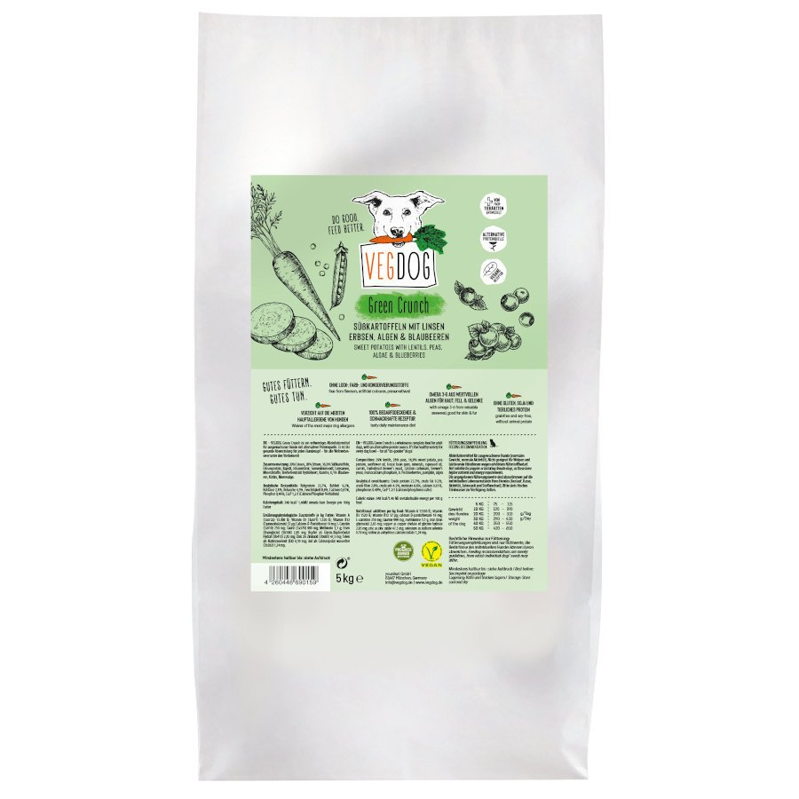 VEGDOG Veggie Crunch veganes Trockenfutter für Hunde, 15 kg (3x5 kg)