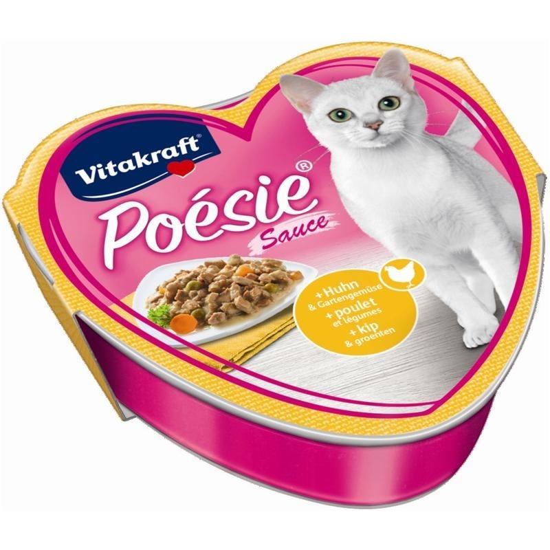 Vitakraft Poésie Katzenfutter, Sauce Huhn + Gartengemüse 85 g Schale
