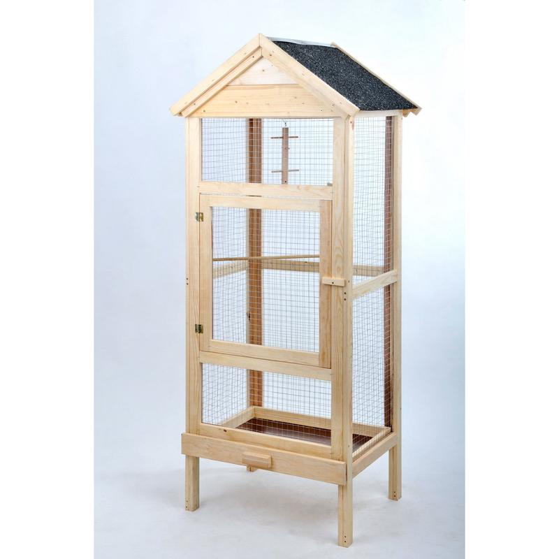 Rohrschneider Vogel Holzvoliere mit Bitumen-Dach