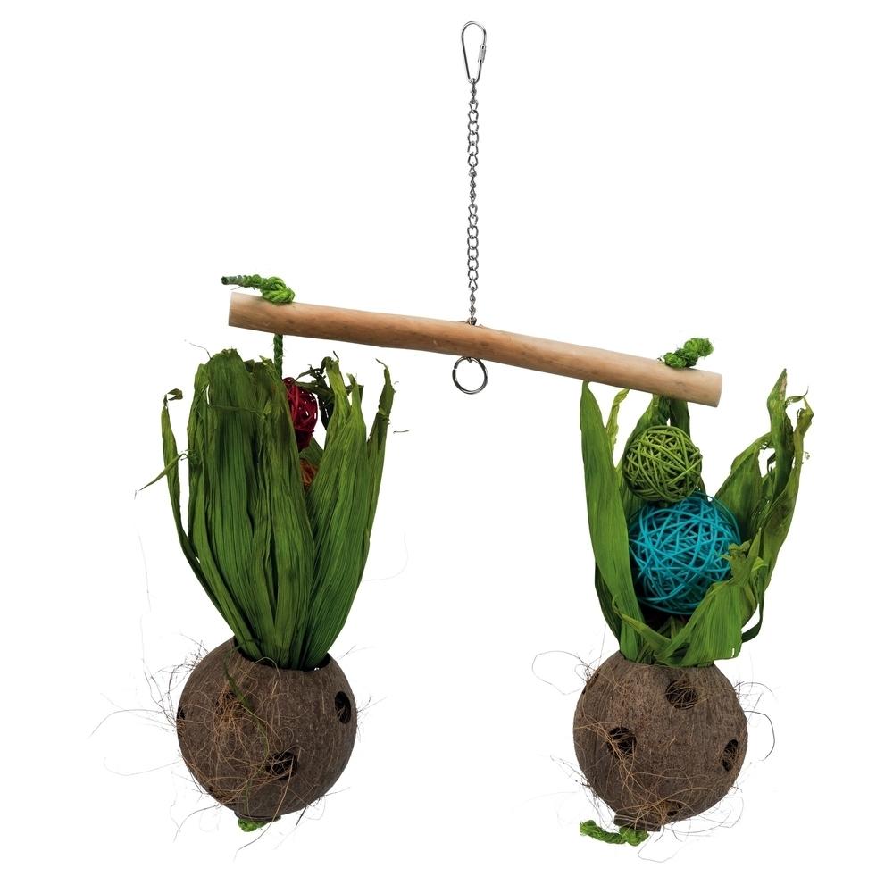 Trixie Vogel Spielzeug Wippe mit Kokosnüssen, 30 × 50 cm