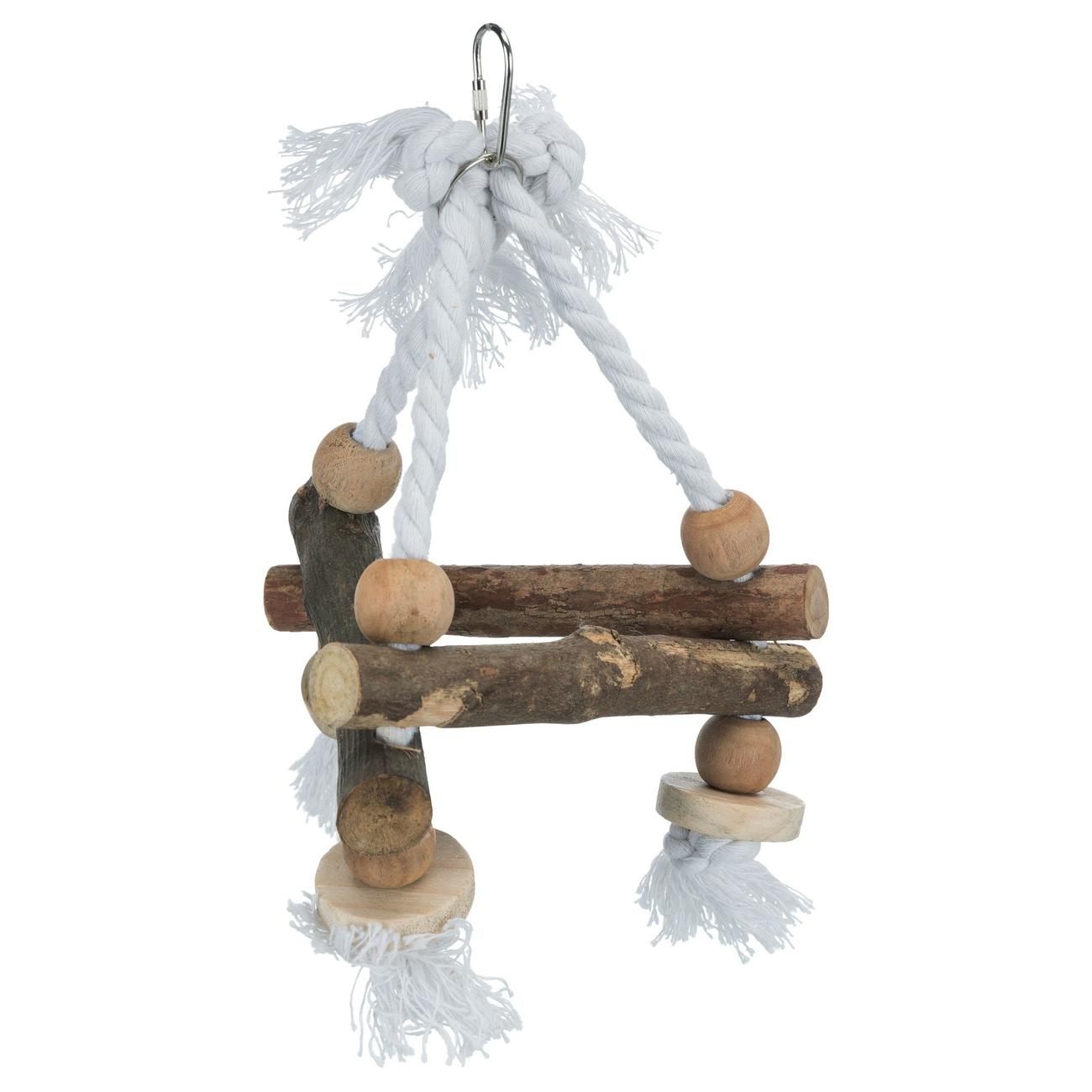 Trixie Vogelschaukel, dreieckig, Naturholz, 16×16×16 cm, Wellensittiche, Kanarien