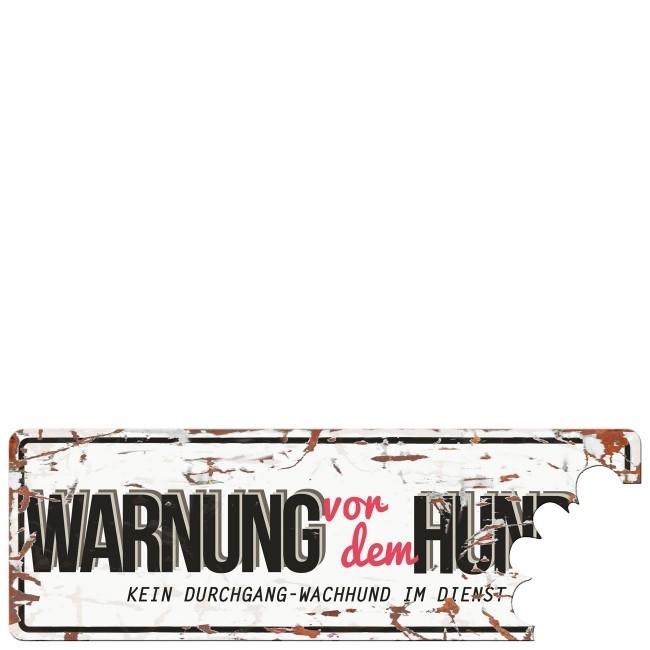 EBI Warnschild Warnung Vor Dem Hund aus Metall, 40 x 13,5 cm - weiß, rote Schrift
