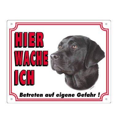 Nobby Warntafel weiß Hund, Labrador dunkel