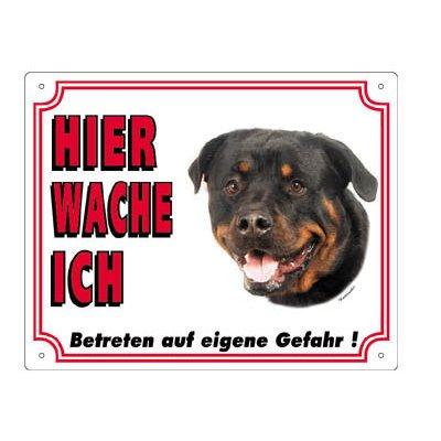 Nobby Warntafel weiß Hund, Rottweiler