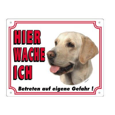 Nobby Warntafel weiß Hund, Labrador hell