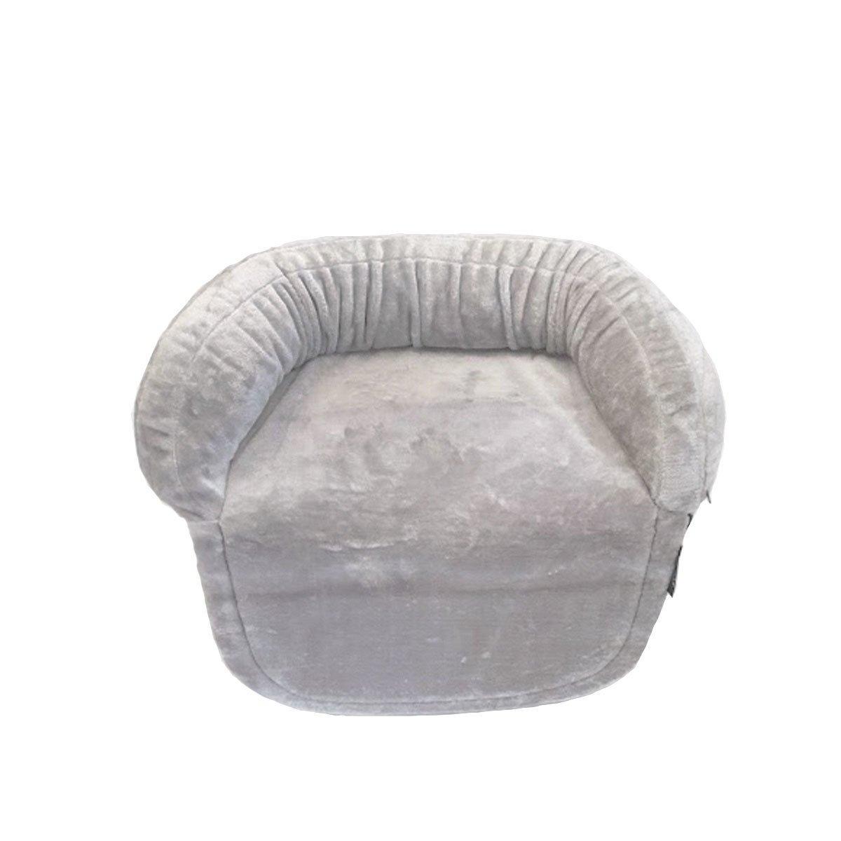 wauweich Sofadecke für Hunde aus Plüsch, S: 80 x 66 cm, hellgrau