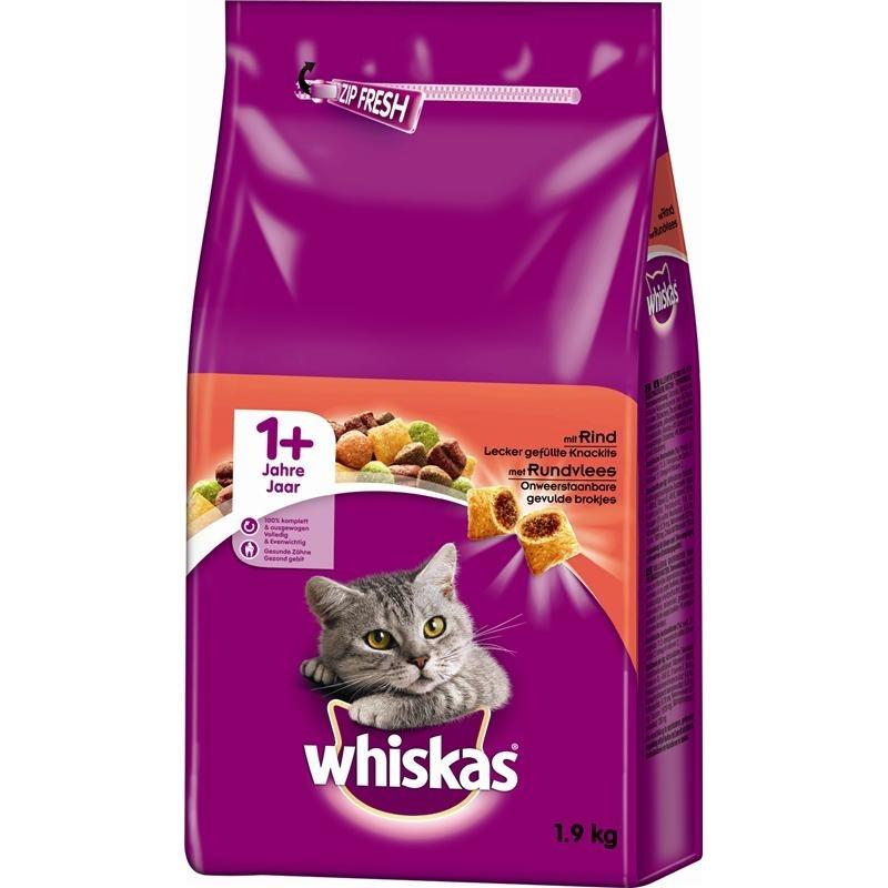 Mars Whiskas Katzenfutter Trockenfutter Adult 1+, 1,9 kg, mit Rind